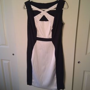 Connected Petite Black and White Dress